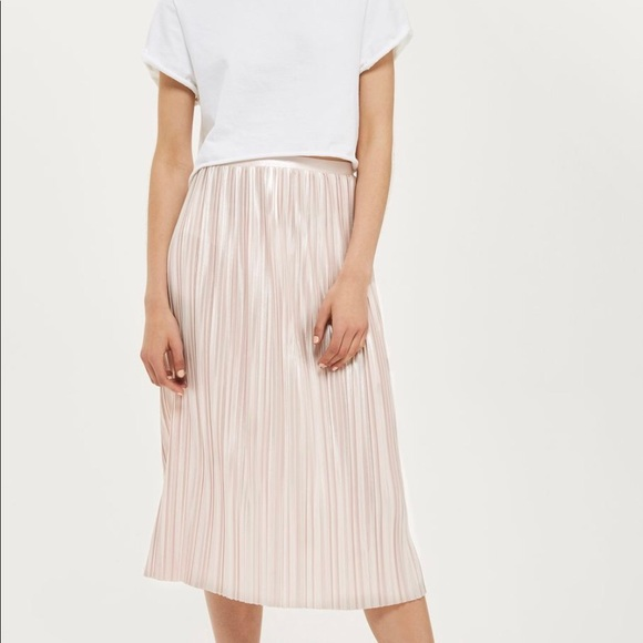 96a4f2a21c Topshop Skirts | Jersey Metallic Pleated Midi Skirt | Poshmark
